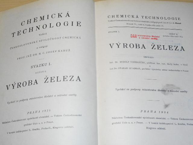 Chemická technologie - výroba železa - Rudolf Vondráček, Otakar Quadrat - 1934