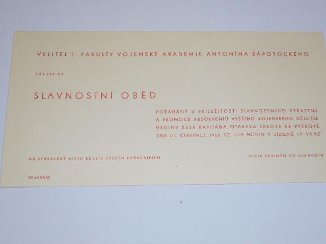 Vojenská akademie Antonína Zápotockého - slavnostní vyřazení a promoce - pozvánka - 1968