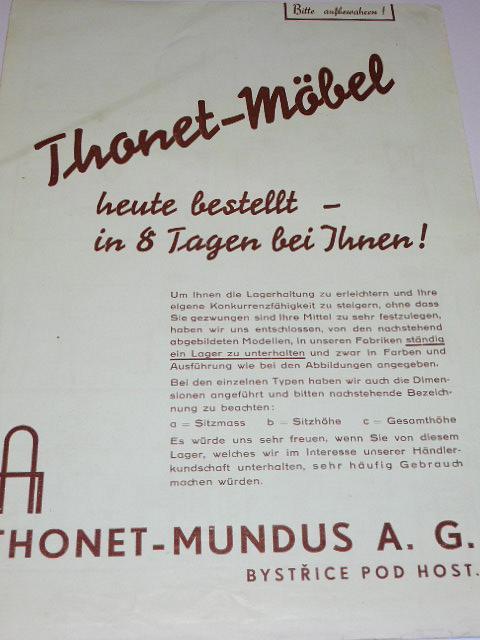 Thonet - Möbel - prospekt - Thonet - Mundus a. g. Bystřice pod Host.