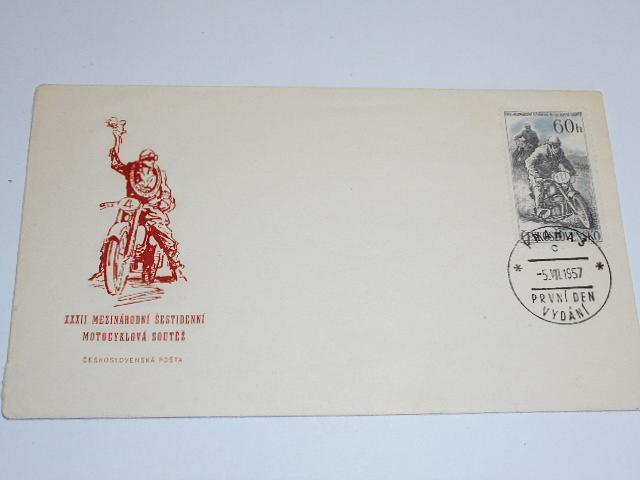XXXII. mezinárodní šestidenní motocyklová soutěž - Československá pošta - 5. 7. 1957 - první den vydání - obálka se známkou