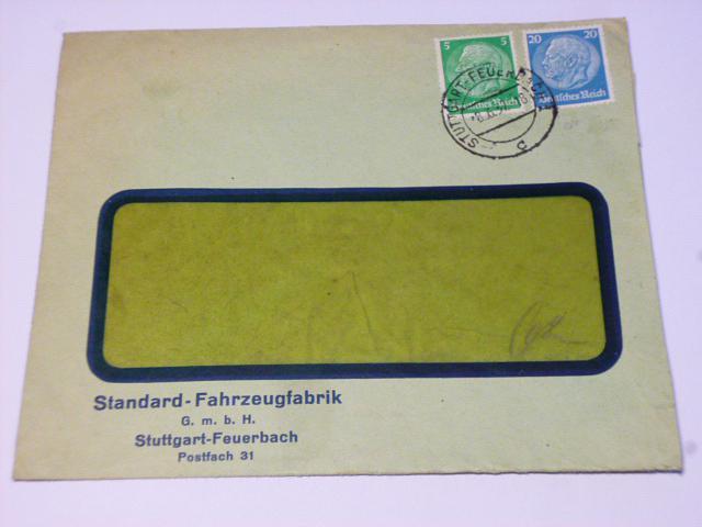 Standard Fahrzeugfabrik G.m.b.H. Stuttgart - firemní obálka