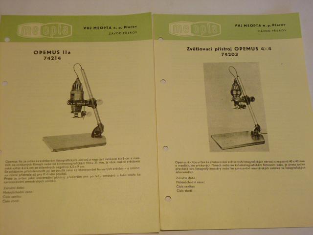 Meopta - zvětšovací přístroj Opemus, Axomat, Magnifax
