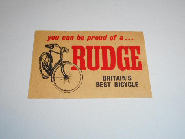 Rudge - Britain´s best bicycle - nálepka na zápalkovou krabičku