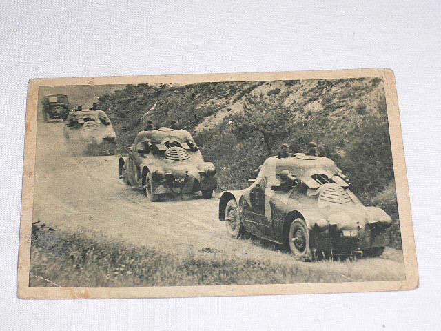 Četa pancéřových automobilů - pohlednice