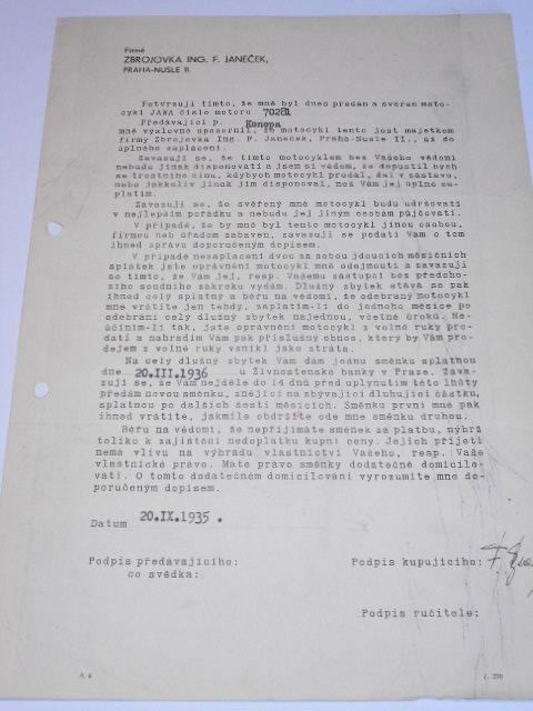 JAWA 250 č. 70281 - 1935 - potvrzení