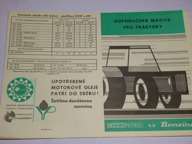 Doporučená maziva pro traktory - Chemopetrol k. p. Benzina