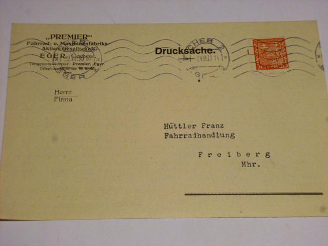Premier - korespondenční lístek - 1930