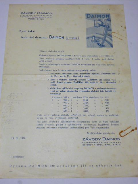 Závody Daimon - firemní dopis - kulovité dynamo 3 waty -1937