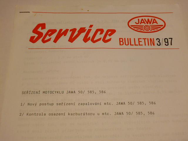 JAWA service 3/97 - seřízení motocyklu JAWA 50/585, 586