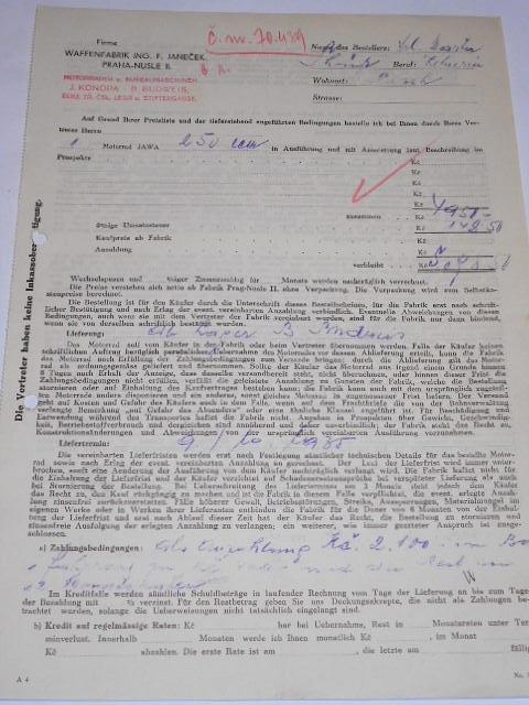 JAWA 250 č. 70439 - 1935 - objednávka