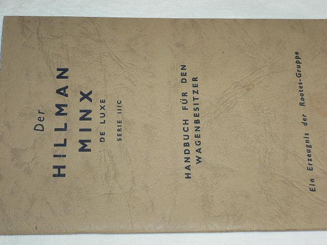 Hillman Minx de luxe serie III C - Handbuch - 1961