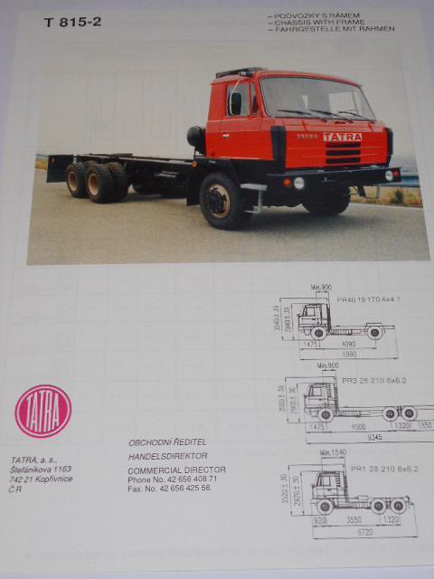 Tatra 815-2 podvozky s rámem - prospekt