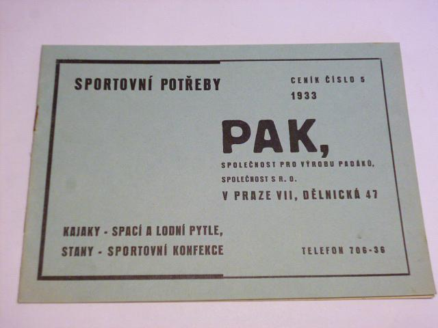 PAK Praha - sportovní potřeby, kajaky, stany - prospekt 1933