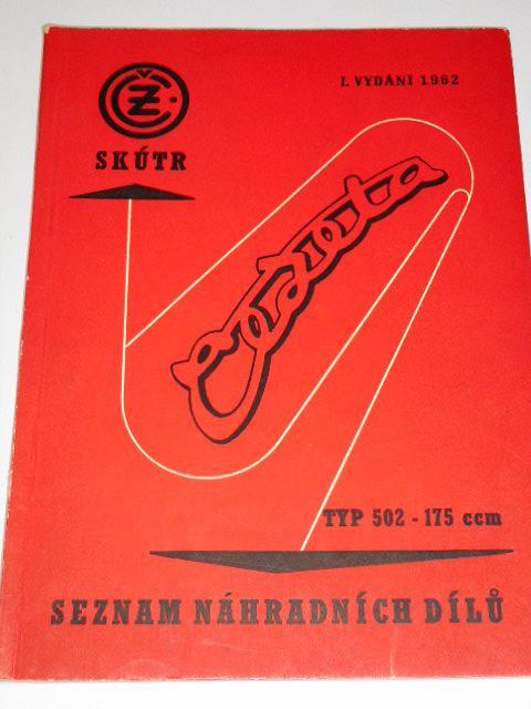 ČZ 175 typ 502 skútr Čezeta - 1962 - seznam náhradních dílů