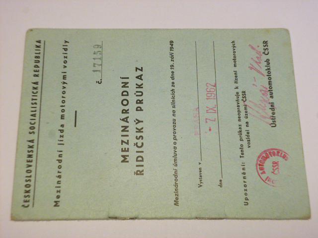 Mezinárodní řidičský průkaz - 1962