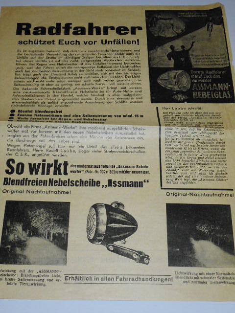Assmann - Radfahrrer schützet vor Unfällen! prospekt