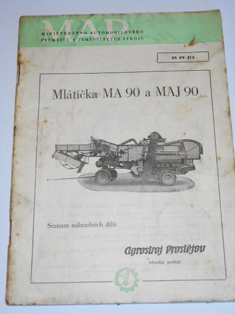 Mlátička MA 90 a MAJ 90 - seznam náhradních dílů