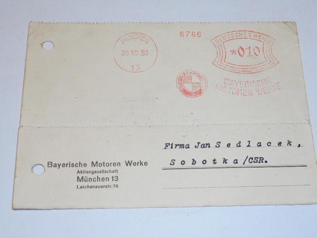 BMW München - dopisnice - 1930