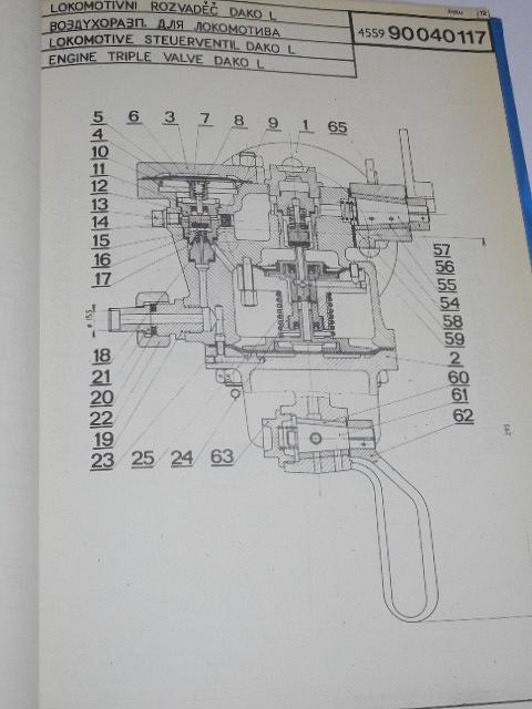 ČKD - motorová lokomotiva T 478.3 - katalog ND brzdových přístrojů