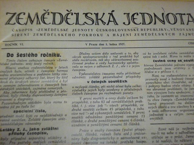 Zemědělská jednota - ročník VI., 1927 - časopisy