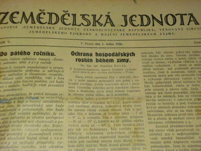 Zemědělská jednota - ročník V., 1926 - časopisy