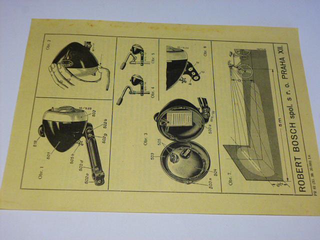 Reflektor Bosch JB 80 A 31 P - prospekt, návod, popis - 1939