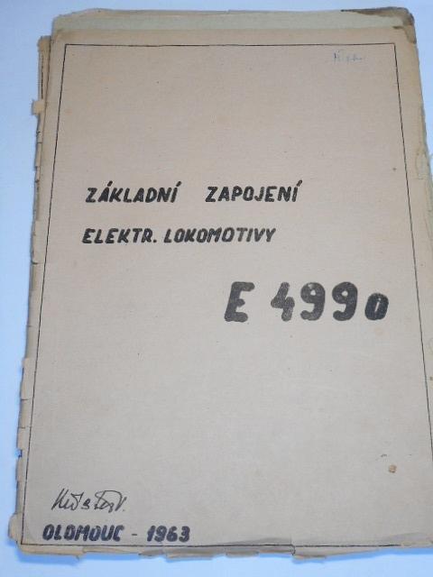 Základní zapojení elektrické lokomotivy E 499.0 - 1963