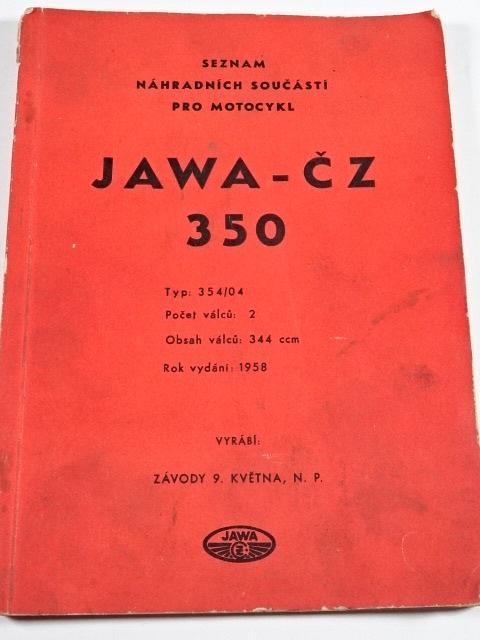 JAWA-ČZ 350 Typ 354/04 - 1958 - seznam náhradních součástí