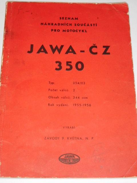 JAWA-ČZ 350 typ 354/03 - 1955 - 1956 - seznam náhradních součástí