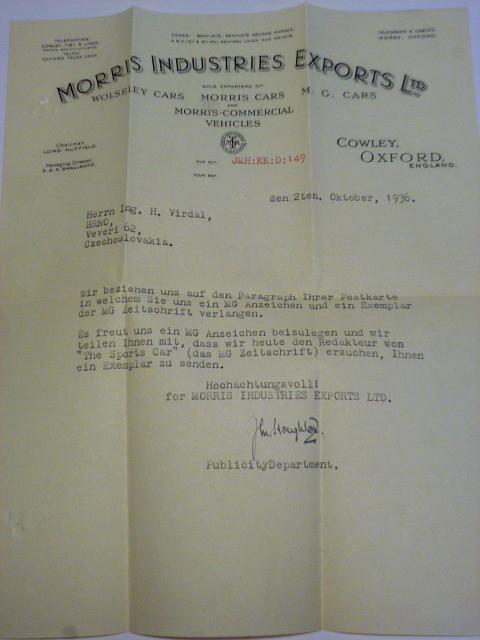 Morris - firemní dopis + obálka - 1936