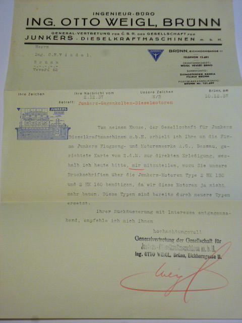 Ing. Otto Weigl, Brno - Junkers - firemní dopis + obálka