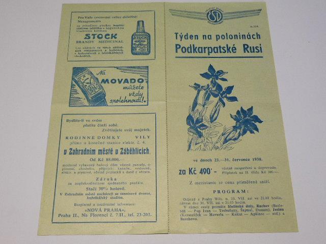 ČSD - výletní vlaky - týden na poloninách Podkarpatské Rusi - 1938 - přihláška na zájezd