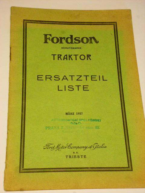 Fordson Traktor Ersatzteil Liste - Ford Motor Company - 1927