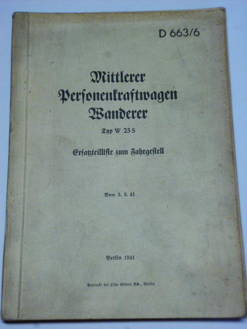 Wanderer W 23 S - Ersatzteilliste zum Fahrgestell - 1941