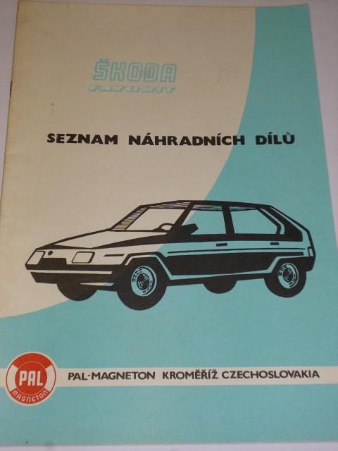 PAL Magneton - Škoda Favorit - seznam náhradních dílů - 1989