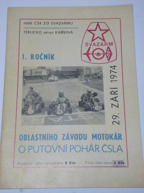 Těrlicko - oblastní závod motokár - I. ročník 1974 - program