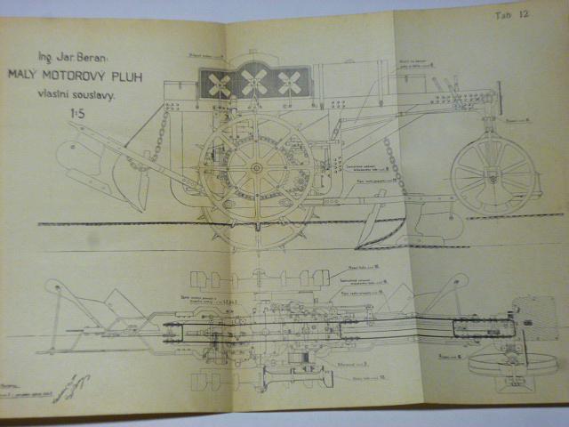 Řešení a detailní konstrukce malého motorového pluhu - 1924