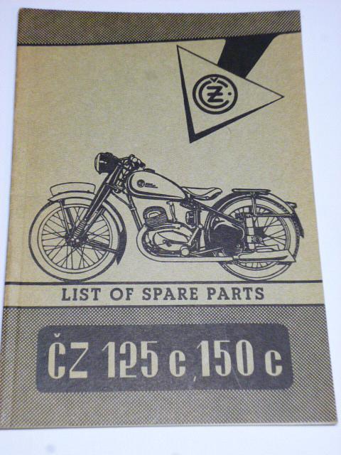 ČZ 125 c, 150 c - list of spare parts - 1951