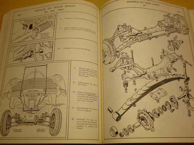 Peugeot 203 Documentation technique pour ateliers d´agences