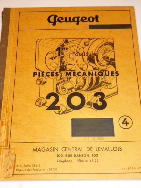 Peugeot 203 - piéces mécaniques - 1953