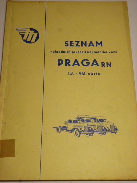 Praga RN - seznam náhradních součástí - 1958 - Mototechna