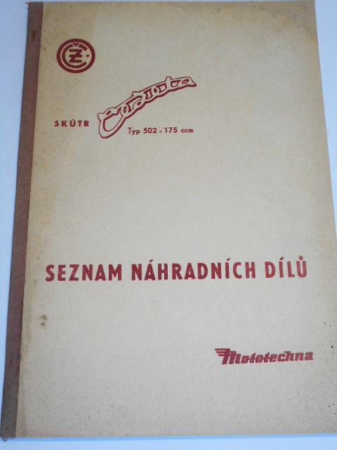 ČZ 175/502/00-01 - skútr Čezeta - seznam náhradních dílů