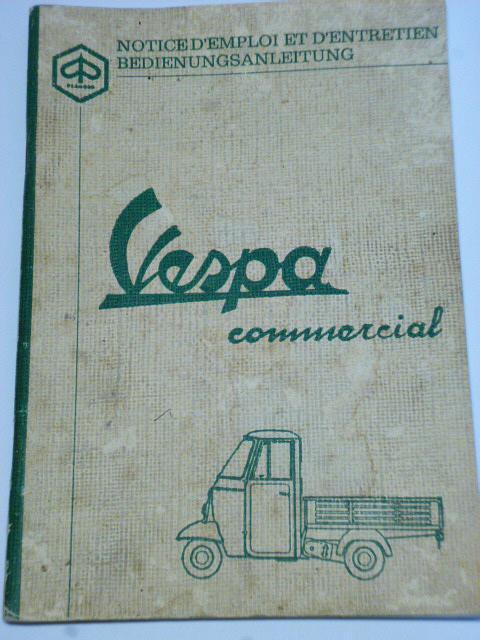 Vespa commercial 500, 400, 350 - Bedienungsanleitung - Piaggio