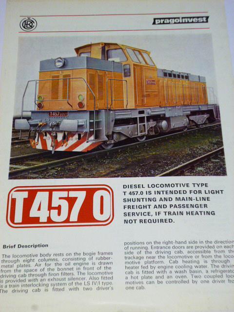 ČKD - Diesel locomotive type T 457.0 - prospekt - 1984