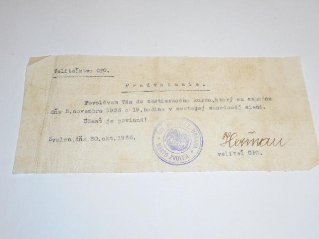 Velitelstvo CPO - civ. protilet. obrana - Zvolen - predvolanie - 1936
