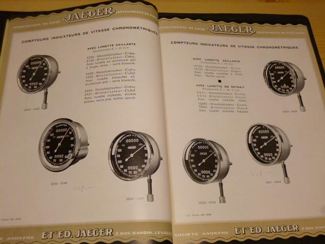 Jaeger - hodiny, tachometry, přístroje - katalog - 1930