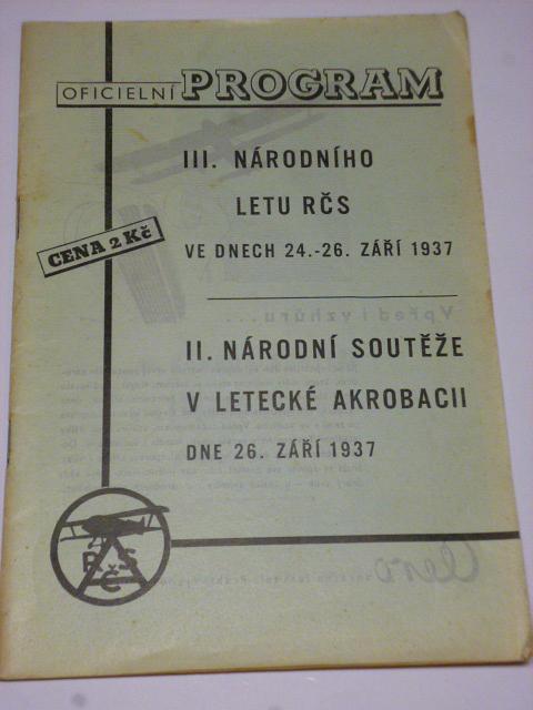 Oficielní program III. národního letu RČS 24.-26. 9. 1937