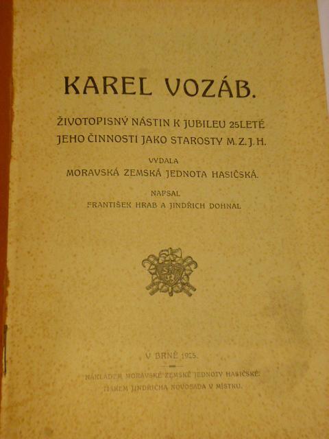 Karel Vozáb - Moravská zemská jednota hasičská - 1925