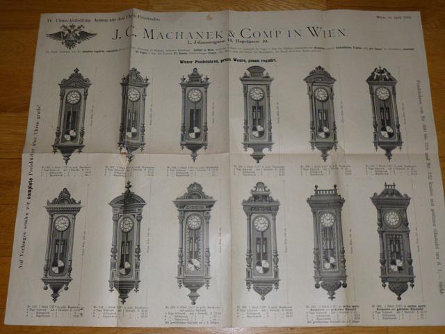 J.C. Machanek a Comp. Wien - Uhren - plakát, prospekt - 1892