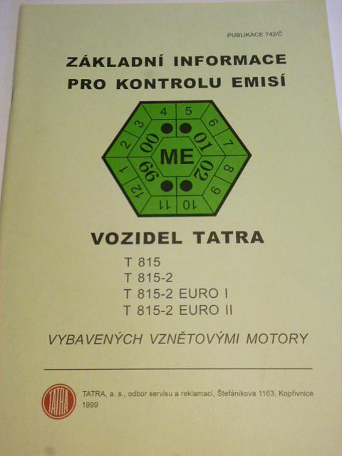 Základní informace pro kontrolu emisí vozidel Tatra